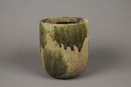 A019ZH Cache-pot en céramique vert D17.5cm H20cm