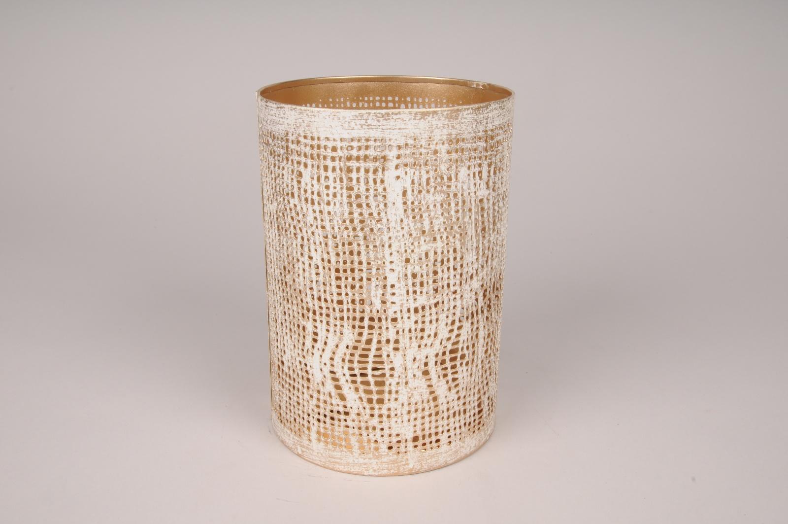 A019ZN Photophore en métal dorée et blanc D12cm H18cm