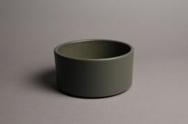 A020A8 Green ceramic planter pot D17cm H9cm