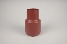 A020CC Vase en métal rouge D12cm H17cm