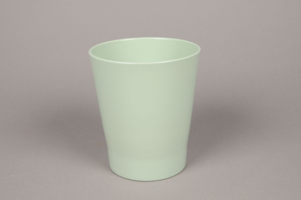 A020DO Green ceramic orchid planter D14cm H15cm