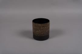 A020E5 Pot en métal noir D10.5cm H10.5cm