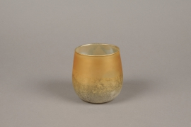 A020G2 Gold glass candle jar D10cm H10cm