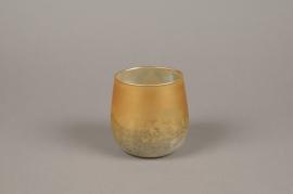 A020G2 Gold glass candle jar D10cm H10cm