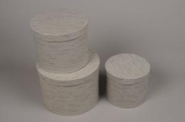 A020K1 Set de 3 boîtes en carton taupe D18cm H13cm