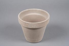 A020KF Pot horticole en terre cuite taupe D19cm H17cm