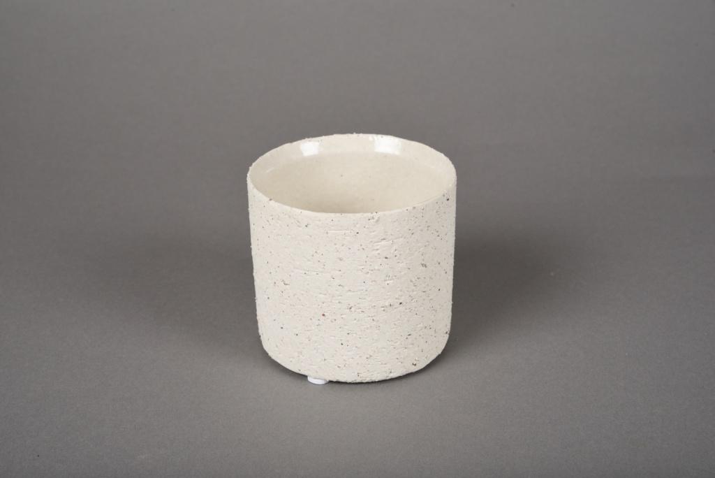 A020N8 Cache-pot en terre cuite beige D9cm H8.5cm