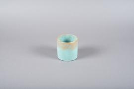 A020OZ Turquoise ceramic planter D11cm H11cm