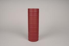 A020U9 Vase cylindre en métal rouge D10cm H30cm