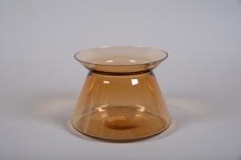 A020W3 Vase en verre ambre avec col D21cm H17cm