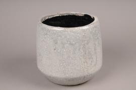 A020W6 Grey ribbed ceramic planter D17,5cm H15cm
