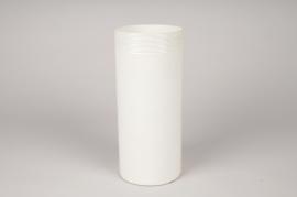 A021A0 Cream cylinder metal vase D11cm H25.5cm
