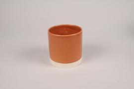 A021AA Cache-pot en céramique cognac D11cm H11cm