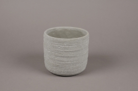 A021AC Cache-pot en béton strié gris D14cm H13cm