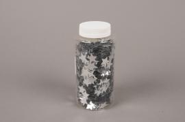 A021BW Glitter pot 200g silver stars 20mm