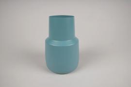 A021CC Vase en métal bleu D12cm H17cm