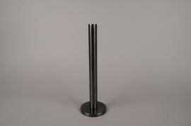 A021E0 Bougeoir métal noir H31.5cm