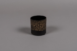 A021E5 Black metal pot D8cm H8cm
