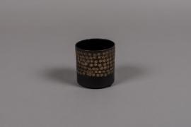 A021E5 Pot en métal noir D8cm H8cm