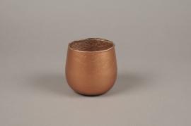 A021G2 Photophore en verre cuivre D10cm H10cm