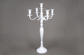 A021HH Chandelier en métal 5 branches blanc H77cm