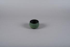 A021JY Cache-pot en métal vert D10cm H7cm
