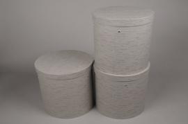 A021K1 Set de 3 boîtes en carton taupe D27cm H27.5cm