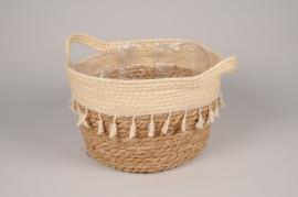 A021MZ Cache-pot panier en jonc naturel et crème D26cm H18cm