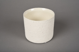 A021N8 White terracotta planter D10.5cm H9cm