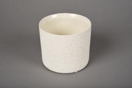 A021N8 White terracotta planter D10.5cm H9cm