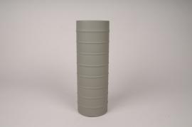 A021U9 Vase cylindre en métal vert kaki D10cm H30cm