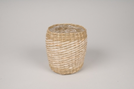 A021UV Weaved planter D11cm H13cm