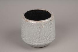 A021W6 Cache-pot en céramique gris D15,5cm H15cm