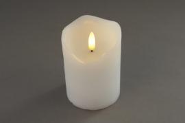 A022A1 White pilar wax candle LED D7.5cm H10cm