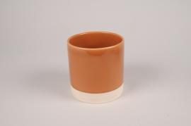 A022AA Cache-pot en céramique cognac D13cm H13cm