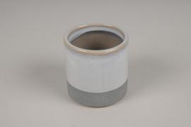 A022BJ Cache-pot en céramique bleu D7cm H7cm