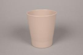 A022DO Cache-pot en céramique taupe D14cm H15cm