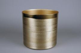 A022E5 Gold metal planter brushed brass look D25.5cm H24cm