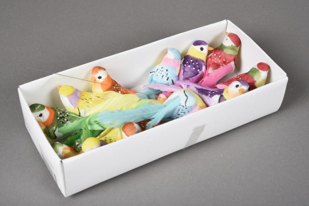 A022E9 Boîte de 12 pics oiseaux L9cm H17cm