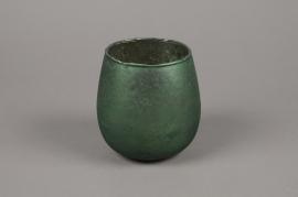 A022G2 Emerald glass candle jar D13cm H13cm
