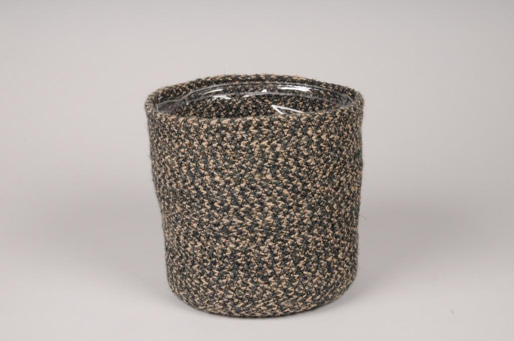 A022M5 Cache-pot en jute noir D16cm H16cm