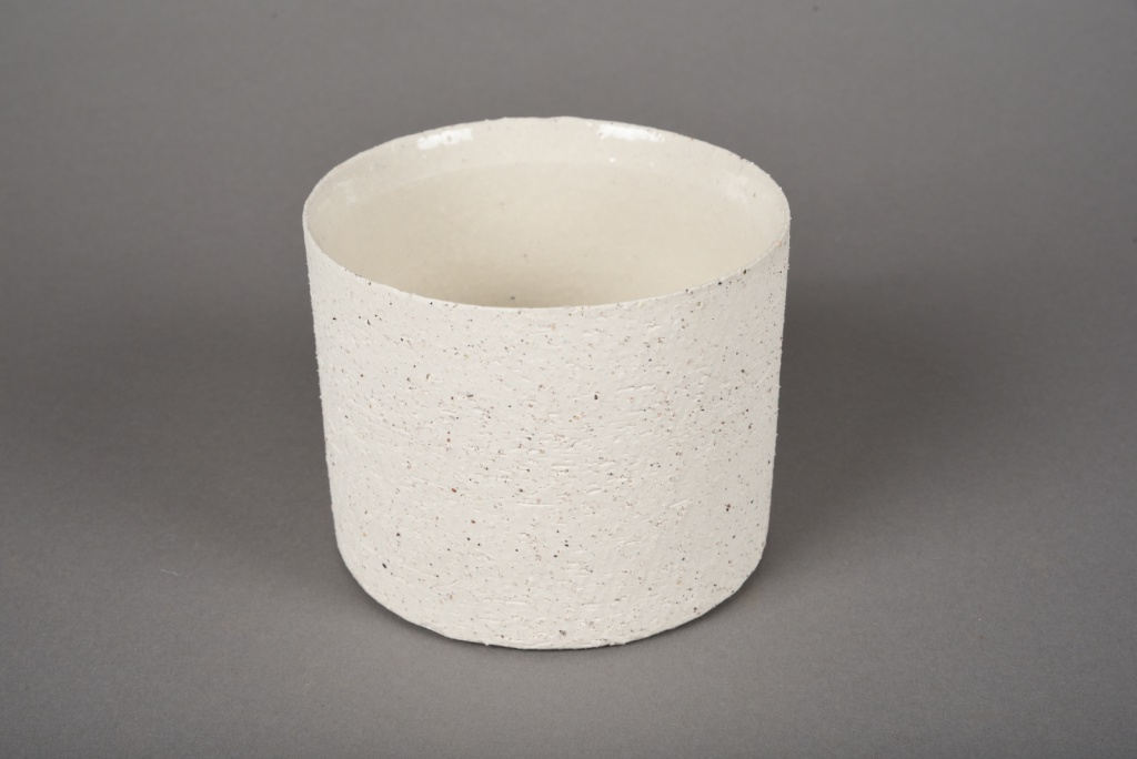 A022N8 Cache-pot en terre cuite beige D12cm H10cm
