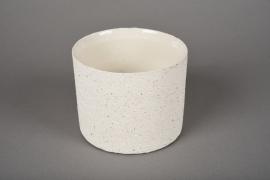 A022N8 White terracotta planter D12cm H10cm