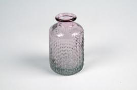A022NH Vase bouteille en verre rose D6cm H10cm