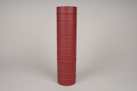 A022U9 Vase cylindre en métal rouge D10cm H40cm