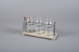 A0239I0 Support en bois avec 3 bouteilles H12cm