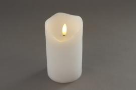 A023A1 White pilar wax candle LED D7.5cm H12.5cm