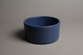 A023A8 Blue ceramic planter pot D17cm H9cm
