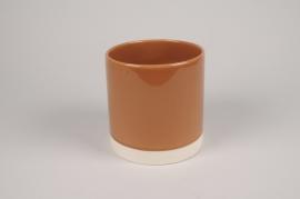 A023AA Cache-pot en céramique cognac D15cm H15cm