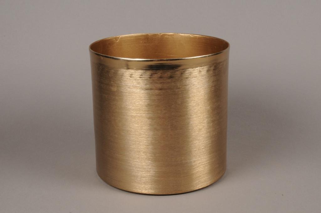 A023E5 Cache-pot en métal effet laiton brossé D20cm H19.5cm